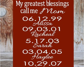 My greatest blessings call me MOM, DAD, GRANDMA Mother, Father Parent Sign with vinyl lettering