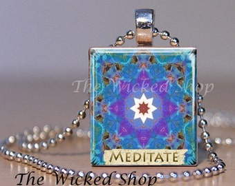 Scrabble Tile Pendant Necklace -Inspirational Necklace - Meditate -Mosaic Mandela-Comes with a FREE Silver Plated Ball Chain (AFF1)