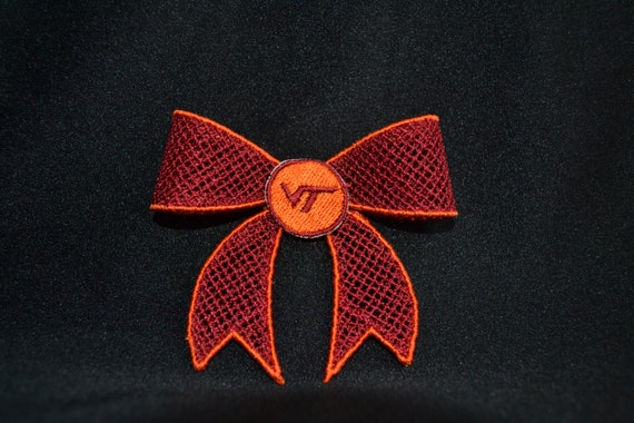 Virginia Tech Hair Bow Fsl Machine Embroidery Design