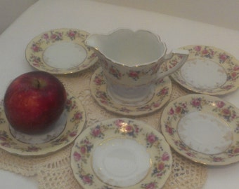 Six Beautiful Vintage Hostess Pattern  Goldcastle  Rose Trimed China Sauser for Cup