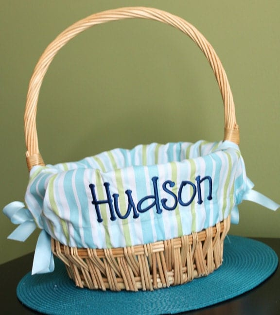 Personalized Easter Basket Liner Blue And Green By