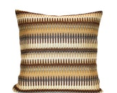 Gold Pillow Cover Brown Pillow Decorative Pillow Fall Decor Striped Upholstery Grey Throw Pillow Cover 24x24 22x22 20x20 18x18 16x16