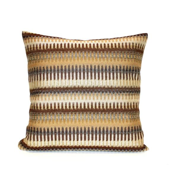 Gold Stripe Decorative Pillow : Gold Pillow Cover Brown Pillow Decorative Pillow Stripe