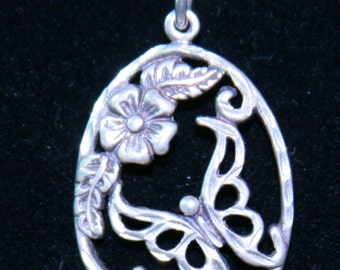 Diamond Cut Sterling Silver Flower and Butterfly  Necklace