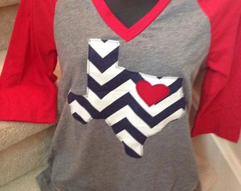 V-neck Shirt with Navy and White Chevron Texas