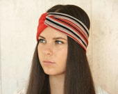 Turban Headband Adult Headband Woman Jersey Knit Headband Striped Black and Red Headband Winter Accessories