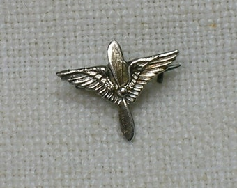Wings & Propeller Pin Brooch, WW2 Pilot Sweetheart, Tiny Size