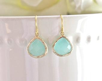 Gold Earrings,  Aqua Earrings, Bridesmaid Jewelry, Bridesmaid Gifts, gifts for her, Mint Earrings, Gifts for Mom, Sister