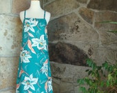 80s TROPICAL HAWAIIAN SUNDRESS vintage floral midi dress S