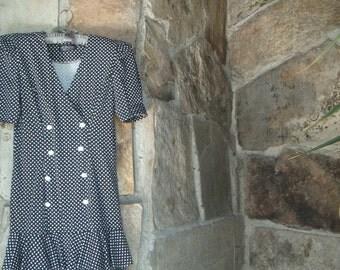 80s STRONG SHOULDER DRESS vintage knit drop waist polka dot M