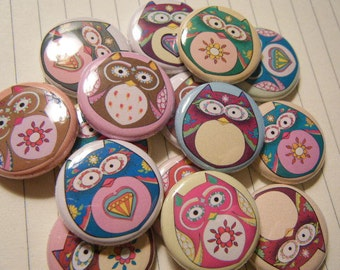 15  Nature Hoot Owl Cute Pinback Button Party Favors Brooch Pin Set