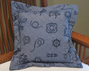 Nautical Pillow Quilted Large Navy Blue Pillow // Nautical Home // Nautical Decor