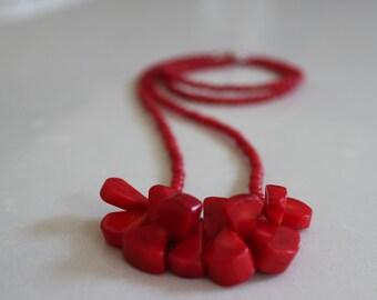 GaLucious Red - long red coral necklace