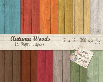 Wood Digital Paper *Autumn Wood Patterns* fall wood patterns in orange, blue, brown, green, gold, crimson for invitations, greeting cards