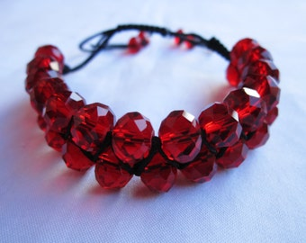 Ruby red color oval faceted glass beaded shamballa style slipknot adjustable fashion bracelet
