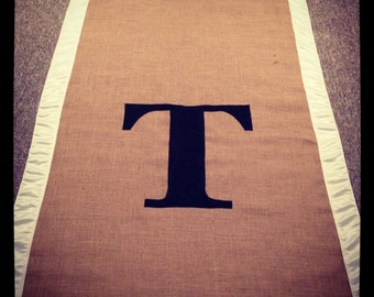 Burlap Custom Made Aisle Runner 25 ft with Ivory  satin border on both sides Monogram included