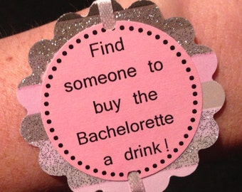 Bachelorette Party Game Bracelets - Glitter Print Decorations - set of 12 - customizable for Birthdays