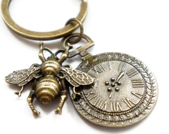 Bee with the Pocket Watch - Antiqued Brass Vintage Style Key Ring - KR27