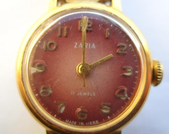 Zaria Zarja Vintage Mechanical Ladies Wrist Watch Russia USSR Goldgilded 10 Micron 17J