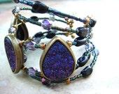 Faux Druzy Bracelet, druzy, purple druzy, memory wire bracelet, cuff bracelet, Boho jewelry