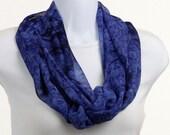 Long Infinity Scarf - super Sheer Cobalt Blue Tye Dye ~ SH226-L5