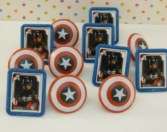 Captain America Rings Cupcake Toppers Decorations Favors