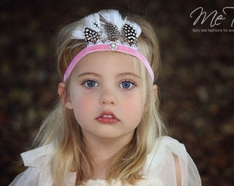 Vintage Shabby Chic Pink Velvet Feather Headband Headdress Baby Child Girls