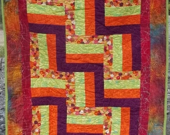 Bright Colored Baby or Lap quilt