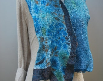 Scarf, shawl, nuno felted, hand dyed, cosy, reversible bohemian accessory, OOAK wearable textile art accessories, handmade women's fashion
