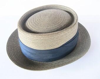 Pork Pie Straw Hat Ecuadorian Panama Hat Co NY Vintage 1950s Mid Century Modern