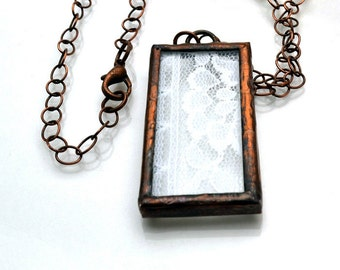 Stained Glass Lace Pendant Necklace Rectangular