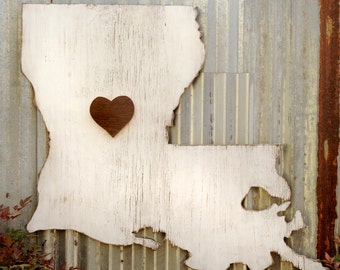 Wooden Louisiana Map Sign with Reclaimed Heart Wooden State Love