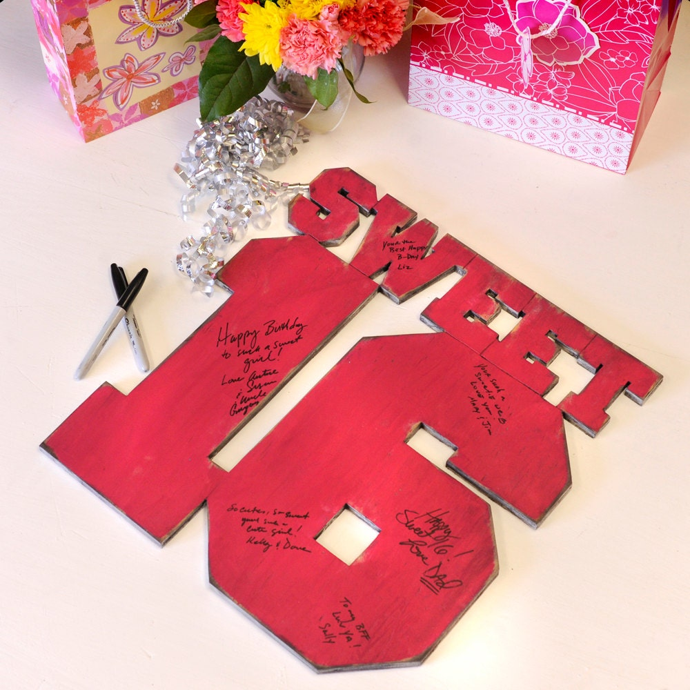 Sweet 16 Sign-In Party Customizable Guest Book