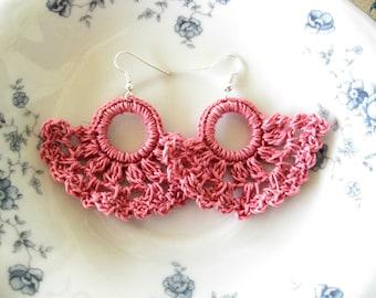 Crochet Earrings, Coral Pink Shell Earrings, Crochet Shells, Dainty Crochet Earrings, Summer Earrings