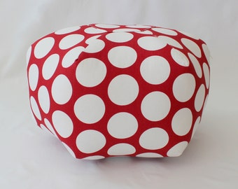 "Ready to ship - 18"" Ottoman Pouf Floor Pillow Dandie Dot Red"