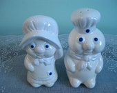 Vintage Salt and Pepper Shakers: Pillsbury Doughboy and Girl Salt & Pepper Shaker Set