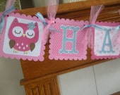 Owl Banner, Owl Happy Birthday Banner, Pinks and blue owl Birthday banner, Matching Tissue Pom Poms are Available
