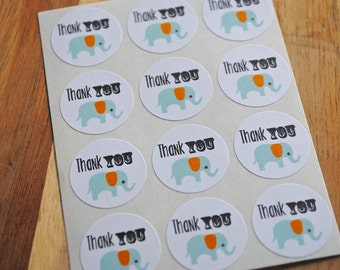 24 Thank You ELEPHANT Mini Round Seals / Stickers -White Matte