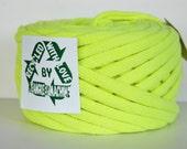 Recycled T Shirt Yarn, Neon/Fluorescent Yellow/Green 38 Yrds , T- Shirt Yarn, Bulky Crafting Cord