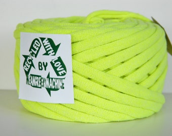Recycled T Shirt Yarn, Neon/Fluorescent Yellow/Green 27 Yrds , T- Shirt Yarn, Bulky Crafting Cord