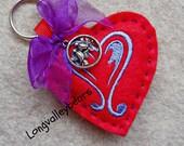 Felt Heart Key Chain, Key Chain for Valentine's Day