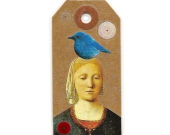 pocket shrine - miniature shrine - mini art tag - book tag -  altered art - bookmark