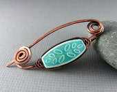 Shawl Pin Wire Wrapped Copper Scarf or Sweater Pin Wire Wrapped Jewelry Turquoise Brooch Copper Brooch Wire Shawl Pin Copper Jewelry