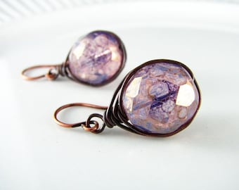 Wire Wrapped Earrings Premium Czech Opal Glass Beads Copper Earrings Wire Wrapped Jewelry Lilac Purple Herringbone Wrapped