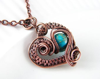 Wire Wrapped Pendant Turquoise Imperial Jasper and Copper Jewelry Wire Wrapped Jewelry Copper Necklace Free Form Jasper Necklace