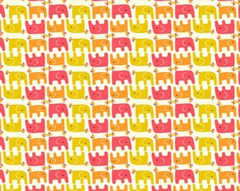 SALE Frolic Ellie Stagger Girl by Rebekah Ginda for Birch Organic Fabrics Pink Yellow Elephants One Yard