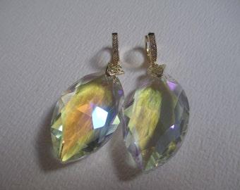 Marquis Almond Crystal Prism Pierced Earrings Gold Tone Rhinestones