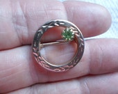 Vintage Round Little Small Gold Tone Etched Light Green Peridot Color Rhinestone Sweet Dainty 1960s