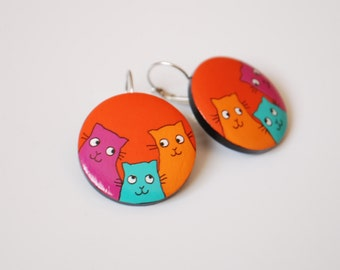 Dangle - Hand painted cats earrings