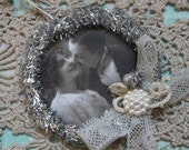 Black and White Victorian Wedding Photo... Hanging Feather Tree Wreath Ornament